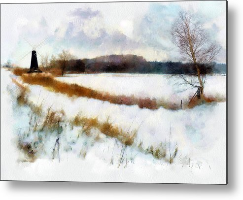 Landscape Metal Print featuring the painting Windmill In The Snow by Valerie Anne Kelly