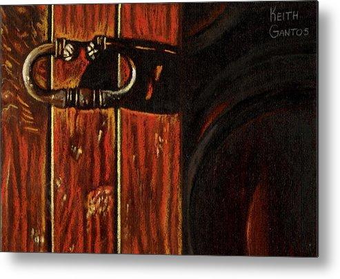 Wooden Door Metal Print featuring the drawing Wine Cellar Door by Keith Gantos