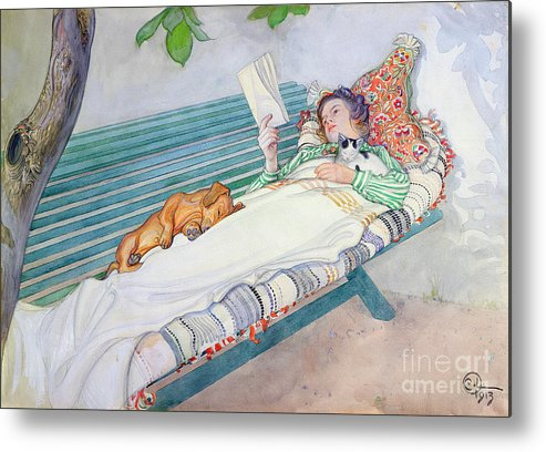 Woman Metal Print featuring the painting Woman Lying On A Bench by Carl Larsson