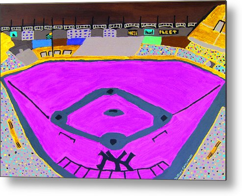 Yankee Stadium Metal Print featuring the painting Yankee Stadium by Jeff Caturano