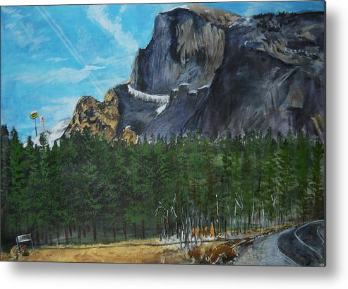 Half Dome Metal Print featuring the painting Yosemite Political Statement by Travis Day