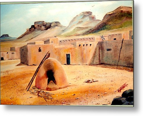 Adobe Metal Print featuring the painting Zuni - Pueblo by Joan Gossett