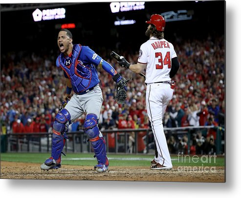 American League Baseball Metal Print featuring the photograph Divisional Round - Chicago Cubs V 1 by Win Mcnamee