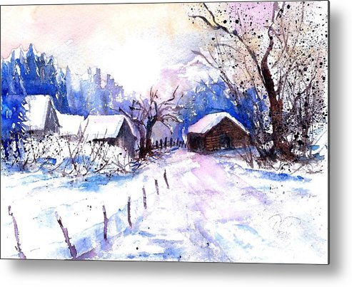 Mountain Village In Snow Metal Print featuring the painting Mountain Village In Snow by Sabina Von Arx