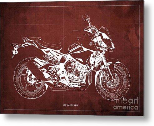 2019 Yamaha Mt-10 Metal Print featuring the drawing 2019 Yamaha Mt-10 Original Artwork Gift For Bikers Garage Decoration by Drawspots Illustrations