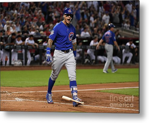 People Metal Print featuring the photograph Chicago Cubs V Arizona Diamondbacks by Norm Hall