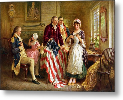 George Washington Metal Print featuring the painting Betsy Ross And General George Washington by War Is Hell Store