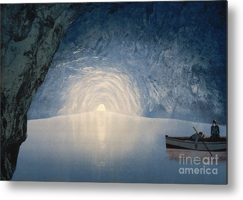 Reflection Metal Print featuring the painting Blue Grotto, Capri Island by American School