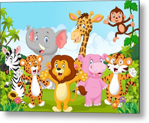 Big Metal Print featuring the digital art Cartoon Happy Little Animal by Teguh Mujiono