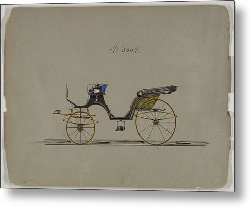 Vintage Metal Print featuring the painting Design For Cabriolet Or Victoria, No. 3558 1879 by MotionAge Designs