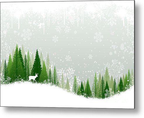 Deer Metal Print featuring the digital art Green And White Winter Forest Grunge by Mike Mcdonald