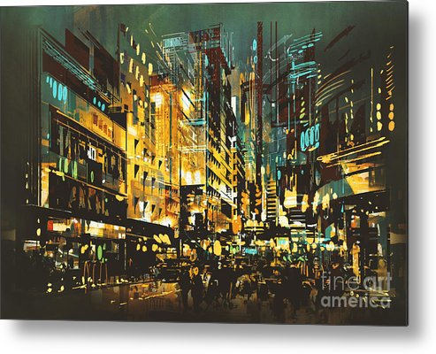 Color Metal Print featuring the digital art Night Scene Cityscape,abstract Art by Tithi Luadthong