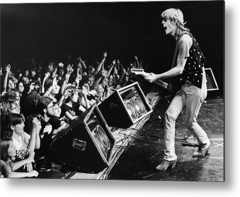 Rock Music Metal Print featuring the photograph Rock Singer Tom Petty In Concert by George Rose