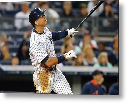 Following Metal Print featuring the photograph Alex Rodriguez by Jim Mcisaac