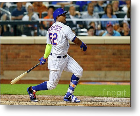 Following Metal Print featuring the photograph Yoenis Cespedes by Jim Mcisaac