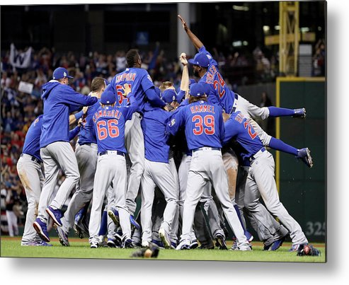 People Metal Print featuring the photograph Anthony Rizzo, Kris Bryant, And Chris Coghlan by Ezra Shaw