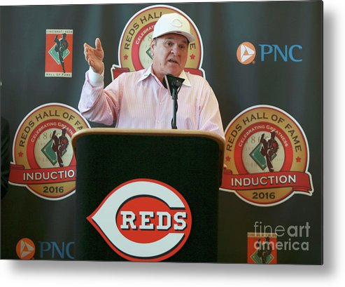 Great American Ball Park Metal Print featuring the photograph Pete Rose by Mark Lyons