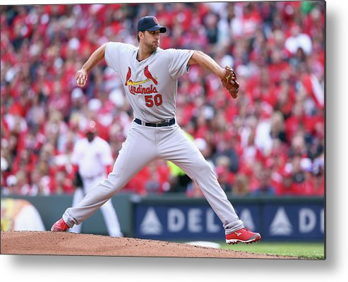 Great American Ball Park Metal Print featuring the photograph Adam Wainwright by Andy Lyons
