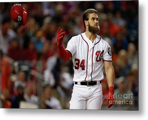 Three Quarter Length Metal Print featuring the photograph Bryce Harper by Matt Hazlett
