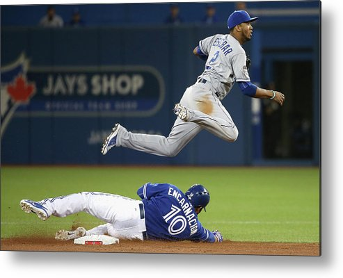 Double Play Metal Print featuring the photograph Edwin Encarnacion And Alcides Escobar by Tom Szczerbowski