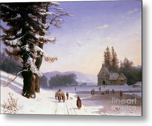 Wagon Metal Print featuring the painting Snow Scene In The South Of France, 1868 by Josephine Bowes