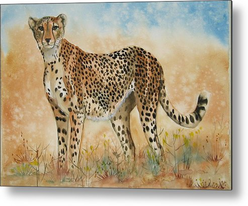 Cheetah Metal Print featuring the painting Cheetah by Gina Hall