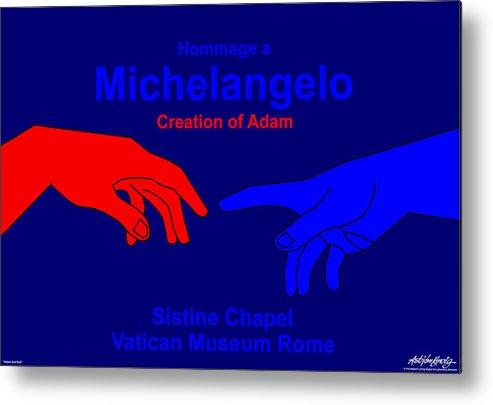 Michelangelo Metal Print featuring the digital art Hommage A Michelangelo by Asbjorn Lonvig