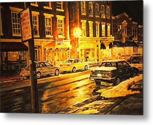 Street Scene Metal Print featuring the painting Lexington Street Light by Thomas Akers
