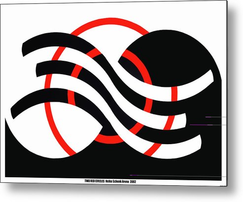 Op-art Metal Print featuring the mixed media Two Red Circles by Heike Schenk-Arena