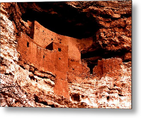 Architecture; Ruins; Montezuma's Castle; Arizona; Travel; Us National Monument; Still Lifes; Fine Art. Metal Print featuring the photograph Montezuma's Castle by Robert Rodvik