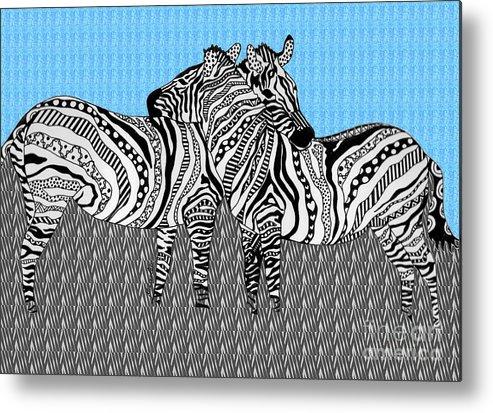 Zebra Metal Print featuring the drawing Zebra Love 19 by Karen Larter