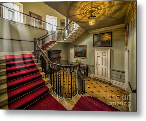 British Metal Print featuring the photograph Mansion Stairway by Adrian Evans