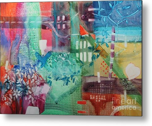 Abstract Metal Print featuring the painting A Spring Walk In The Park  by Elizabeth Carr