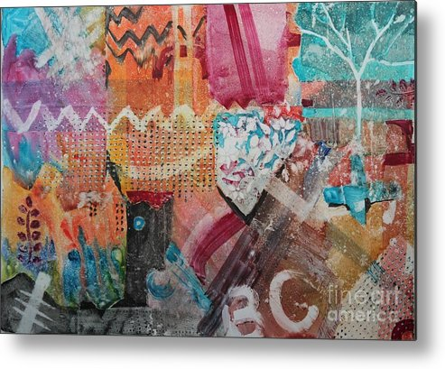 Abstract Metal Print featuring the painting A Winter Walk In The Park by Elizabeth Carr