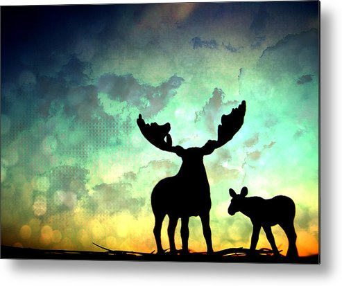 Moose Metal Print featuring the photograph Ablaze by Georgia Fowler