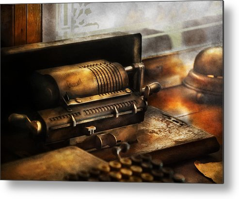 Suburbanscenes Metal Print featuring the photograph Accountant - The Adding Machine by Mike Savad