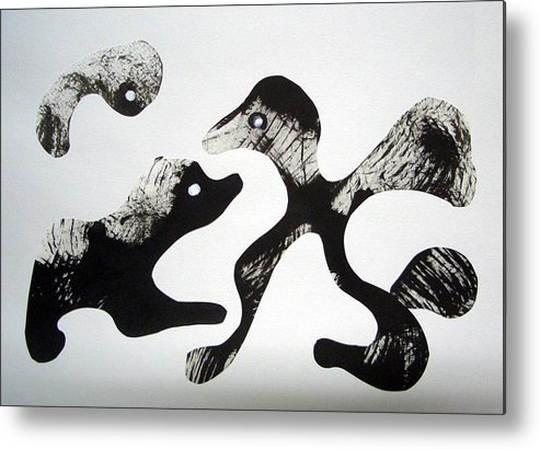 Cut & Paste Metal Print featuring the drawing Animal Design 121027-1 by Aquira Kusume