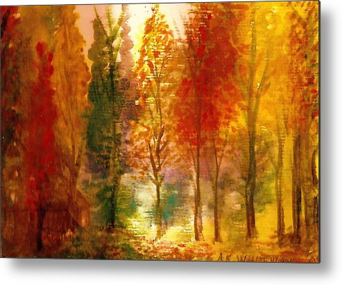Autumn. Fall Metal Print featuring the painting Another View Of Autumn Hideaway by Anne-Elizabeth Whiteway