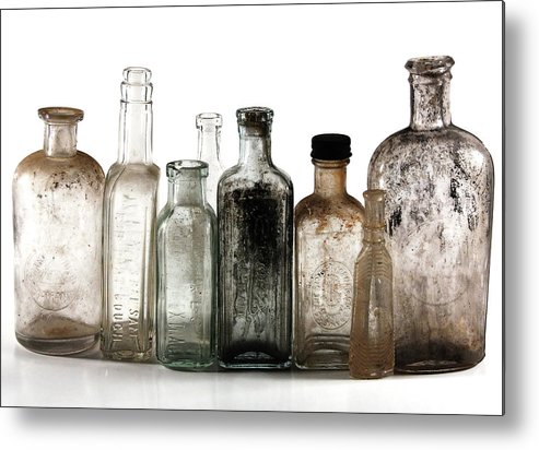 Bottles Metal Print featuring the digital art Antique Bottles by Richard Ortolano