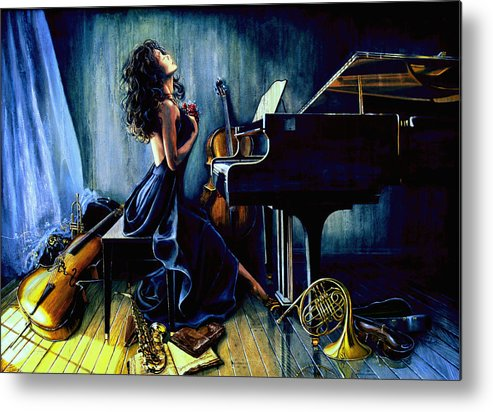 Musical Instrument Still Life Metal Print featuring the painting Appassionato by Hanne Lore Koehler