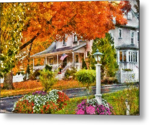 Hdr Metal Print featuring the photograph Autumn - House - The Beauty Of Autumn by Mike Savad