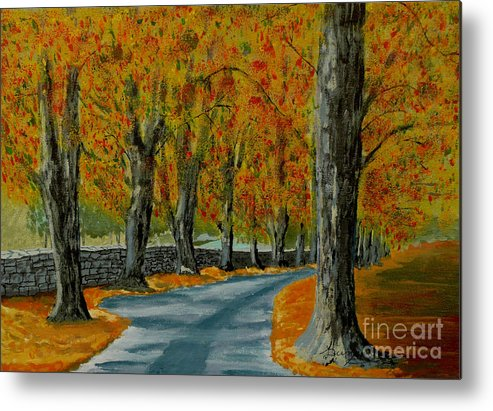 Autumn Metal Print featuring the painting Autumn Pathway by Anthony Dunphy