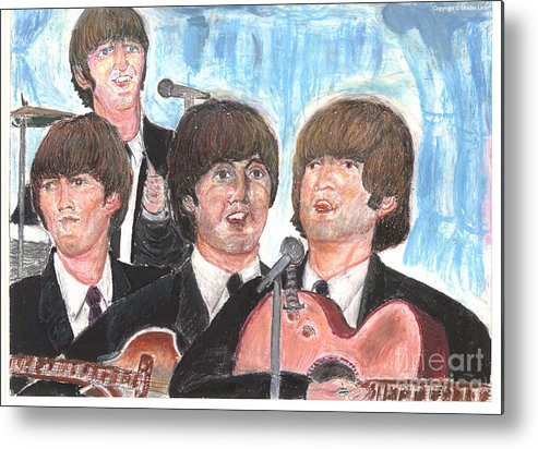 John Lennon Portrait Watercolor Icon Rock Pop Art Legend Liverpool Fab Four Sixties Metal Print featuring the drawing Baby's In Black by Moshe Liron