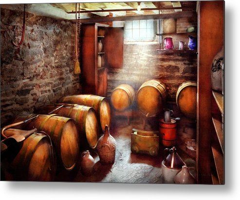 Suburbanscenes Metal Print featuring the photograph Bar - Wine - The Wine Cellar by Mike Savad