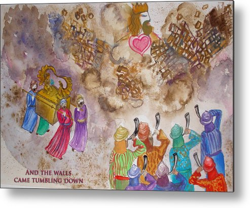Shofar Metal Print featuring the painting Blowing The Shofar At Jericho With Words by Anne Cameron Cutri