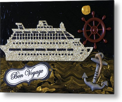 Cruise Ship Metal Print featuring the mixed media Bon Voyage by Jessica Marin-feliciano