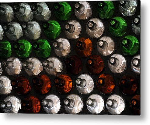 Glass Bottles Metal Print featuring the photograph Bottle Wall by Mark Sullivan