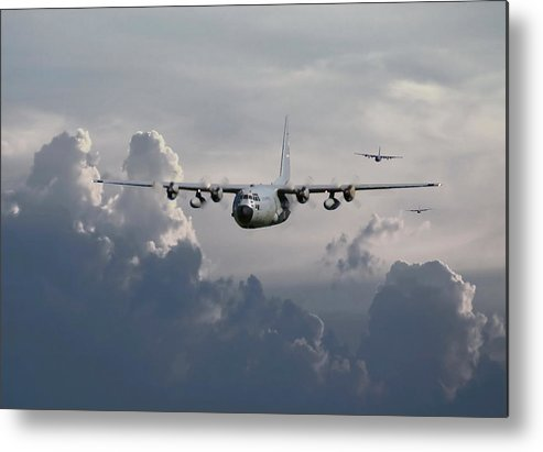 Aircraft Metal Print featuring the digital art C130 Hecules  In Trail by Pat Speirs