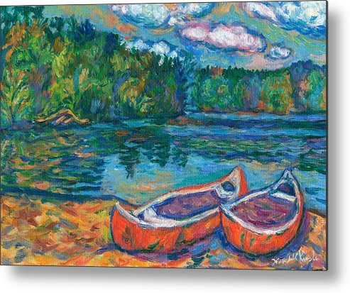 Landscape Metal Print featuring the painting Canoes At Mountain Lake Sketch by Kendall Kessler