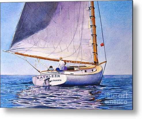 Sail Metal Print featuring the painting Cape Cod Catboat by Karol Wyckoff